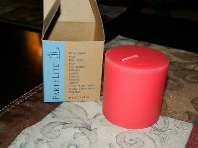 New In Box PARTYLITE Apple Orchard Red Small Pillar Candle