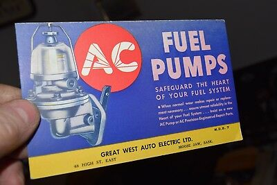 antique AC FUEL PUMPS blotter great west auto moose jaw chevrolet