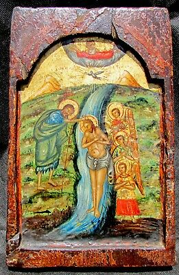 Antique C.18th C. Greek Orthodox icon, Post-Byzantine. Baptism of Jesus