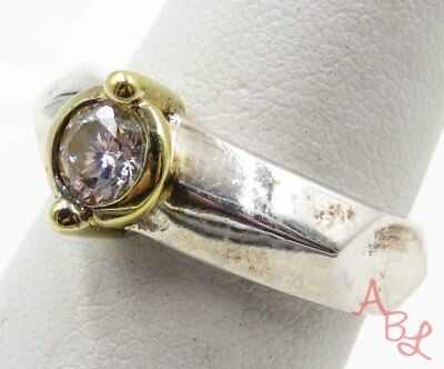 Sterling Silver 925 Gold Trim Faceted White Stone Ring Sz 7 (5.2g) - 715752