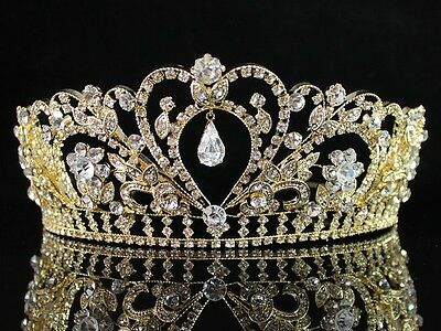 Gorgeous Clear Austrian Rhinestone Crystal Tiara Crown Bridal Pageant H1339Gold