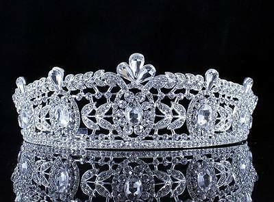 Regal Clear Austrian Crystal Rhinestone Tiara W/ Hair Combs Crown Bridal T11996