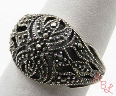 Sterling Silver Vintage 925 Filigree Dome Marcasite Ring Sz 7 (4.6g) - 714755