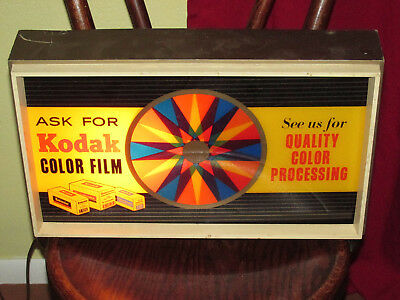 KODAK FILM ELECTRIC KALEIDOSCOPE light-up store display sign A6-809 WORKS!