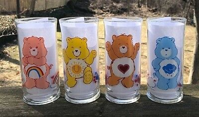 Set Of 4 - Vintage 1983 Pizza Hut Care Bears Collector Glasses