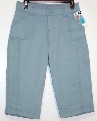 NWT Lee Relaxed Fit Mid Rise Stretch Skimmer Capri Pants 4 12 Blue Sage