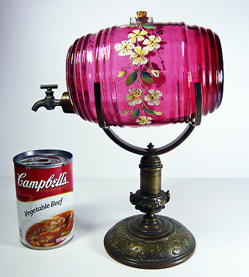 Antique Handpainted CRANBERRY Glass BRANDY BARREL on ORNATE BRONZE STAND