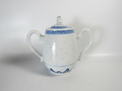 Chinese Blue White Handpainted Porcelain Sugar Can with Lid Made in Jingdezhen