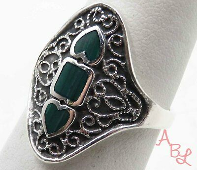 Sterling Silver Vintage 925 Inlay Heart Etched Malachite Ring Sz 7 (4.5g) 714765