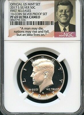 2017 S Silver 50c From 10-coin Silver Set FIRST RELEASES NGC PF69 UC -S