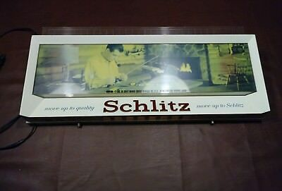 Vintage 1958 Schlitz Lighted Beer fishing rod Scene / Form 548
