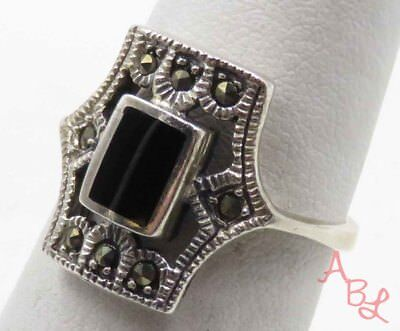 Sterling Silver Vintage 925 Cocktail Onyx & Marcasite Ring Sz 7 (3.4g) - 715939
