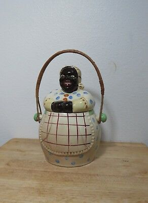Vintage Aunt Jemima Type Cookie Jar With Handle - Plastic - Good Condition