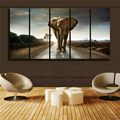 HUGE MODERN ABSTRACT WALL DECOR ART OIL PAINTING ON CANVAS Elephant Unframed