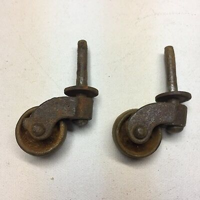 Pair Of Antique 1800s Caster Wheels Casters Industrial Victorian