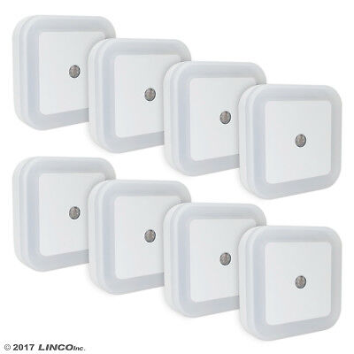 LINCO LED Plug Night Light Wall Lamp With Dusk to Smart Sensor, Pack of 8 T001