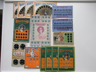15 RARE Antique Vintage SNAP FASTENERS HOOKS & EYES Original Cards GRAPHICS!!!