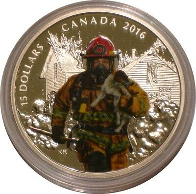 2016 Silver $15 Silver Dollars Canada FIREFIGHTERS National Heroes superb Gem
