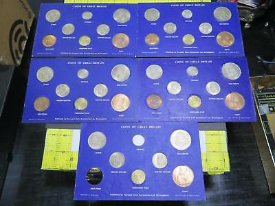 Great Britain 1964 Six Pence Half Crown Shilling Penny Sets Coin Collection Lot
