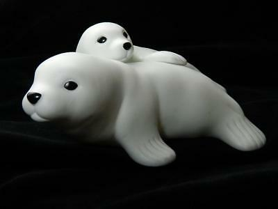 White Baby Seals Porcelain Figurines Arctic Animals Collectible