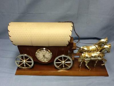 Vintage Electric Covered Wagon With Horses Lamp And Clock Wood And Plastic WOW !