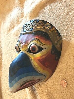 antique Hand Carved Painted GARUDA BIRD WOOD MASK Polychrome Indonesian Balinese