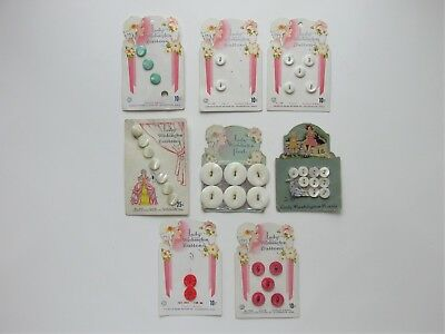 8 RARE Antique Vintage LADY WASHINGTON PEARL BUTTONS Original Cards GRAPHICS!!!