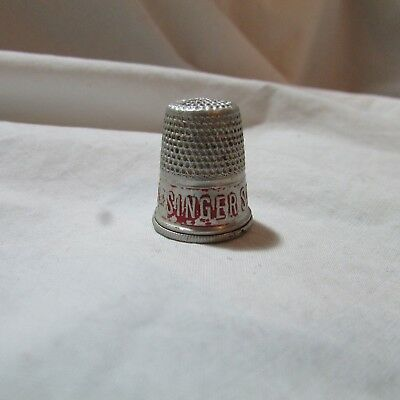 Vintage Singer Sewing Machine Advertising Metal Thimble Red Paint