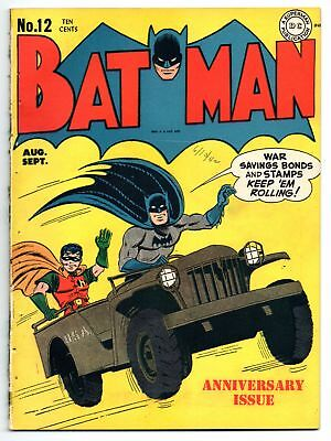 Batman #12 ~ Qualified VF/NM 9.0 OW/White Pages ~ Joker Appearance ~ File Copy