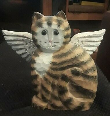 James Haddon Wood Carving Tabby Cat With Wings Angel Cat Signed