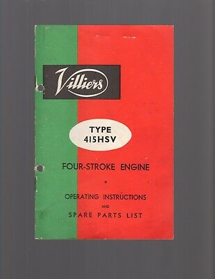 Villiers Type 415HSV Four-Stroke Engine Operating Instructions &Spare Parts List