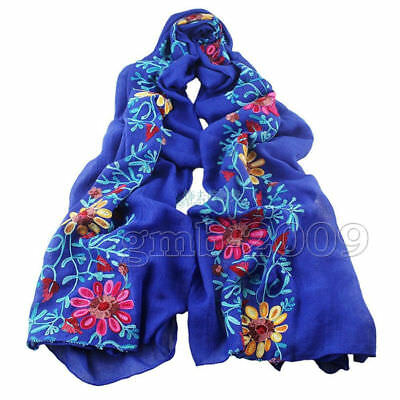 Women Large Embroidered Floral Scarf Cotton Linen Pashmina Shawl Wrap Scarves