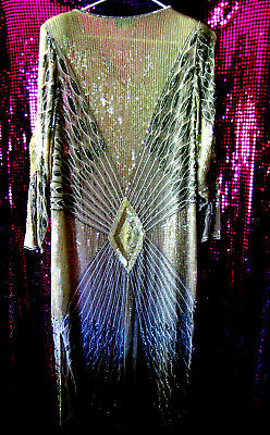 Vintage Silk Iridescent Beaded Sequin Formal Gown Art Deco Cocktail Gatsby