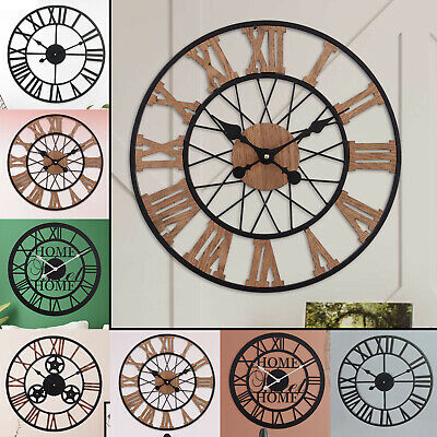 78Cm Vintage Rustic Black Traditional Style Roman Antique Numeral Wall Clock