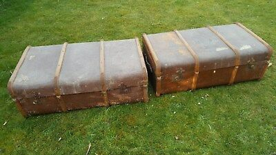 PAIR OF***************Old Antique Wooden Bound Steamer Cabin Travel Trunk Luggag