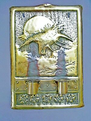 Lovely Antique Arts & Crafts Brass Repousse Double Candle Wall Sconce/jgw Signed