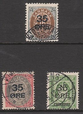 Denmark 1912 #131 #132 #133 Used Opted 35 Ore Stamp Set