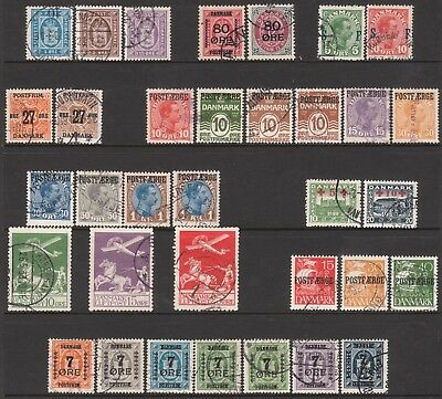 Denmark 1915 1916 1917 1918 1919 1925 1926 Used Air Official Parcel Post Stamps