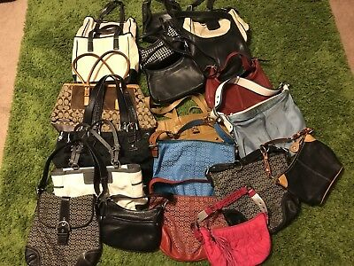 Lot of 20 Coach/ Dooney Leather Canvas Used Handbag Bag Purse Lot