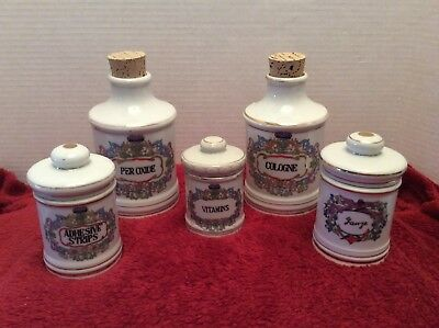 Set Of 5 Vintage Ceramic Apothecary Labeled Jars