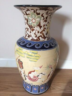 Very Large Vintage Oriental Glazed Ceramic Vase Asian Chinese Mice Cat Fish 21""