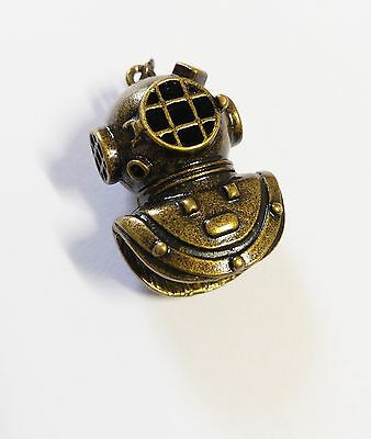 Vintage Diving Helmet Pendant Antiqued Bronze 3D Large Focal Pendant Ocean Charm