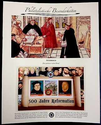 Austria 2017 500 Jahre Reformation Block of Silver & Gold plated Luther-Rose MNH