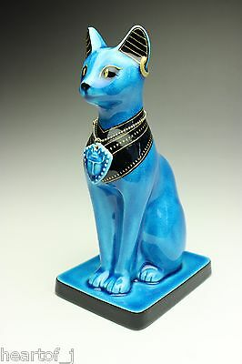 Cat Goddess BASTET Persian Cobalt Blue Porcelain Figurine w/ Scarab Pendant NEW