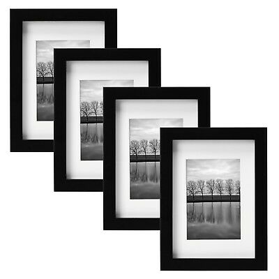 """Gallery 5"""" x 7"""" Picture Frame Black Color Set of 4 Solid Theme Wood"""