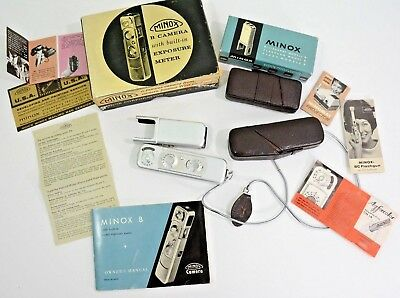 Vintage Minox B Miniature Spy Camera with Flash West Germany, Box & Accessories