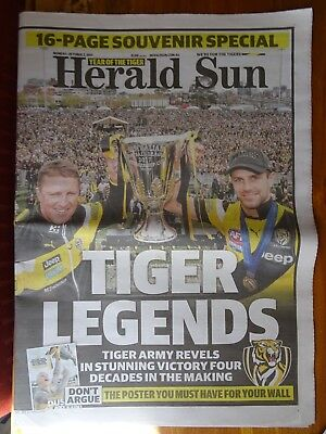 Herald Sun Afl 2017 Grand Final Newspaper Richmond Tigers Oct 2 Dustin Martin