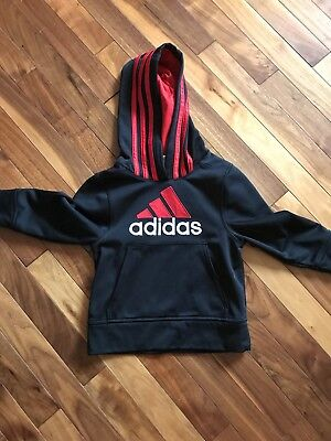 Adidas Toddler Boys Athletic Pullover Hoodie Black Red 3T