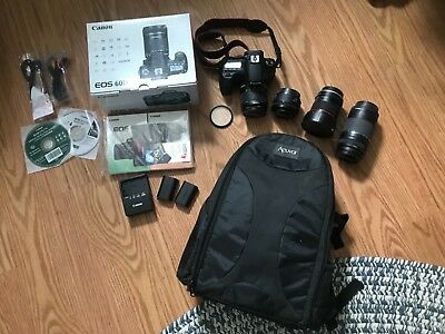 *Mint Condition* Canon 60D - w/ 4 Lenses, 2 batteries, Camera Bag, and tripod