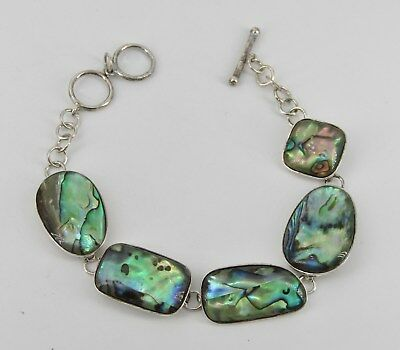 Signed LUC Sterling Silver Abalone Toggle Bracelet; 11.47 Grams; Item# R670